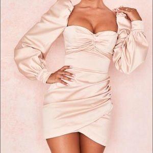 House of cb blush Cherie satin puff sleeve dress